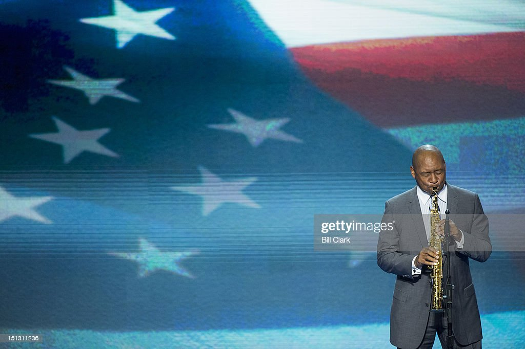 Musician Branford Marsalis plays the national anthem at the Democratic National Convention at Time Warner Cable Arena in Charlotte, N.C., on Wednesday, Sept. 5, 2012.