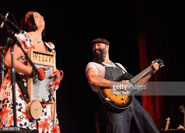 Musician Breezy Peyton and musician Josh 'Reverend' Peyton of The Reverend Peyton's Big Damn Band perform during the Big Blues Bender at the Riviera...