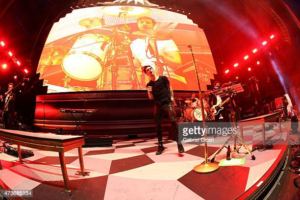 Musician Brendon Urie of Panic at the Disco performs onstage at the KROQ Weenie Roast Y Fiesta 2015 at Irvine Meadows Amphitheatre on May 16 2015 in...