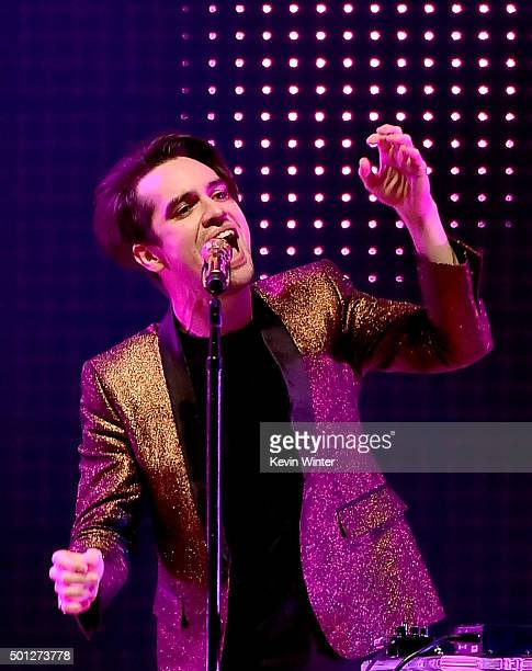 Musician Brendon Urie of Panic At the Disco performs onstage during 1067 KROQ Almost Acoustic Christmas 2015 at The Forum on December 13 2015 in Los...