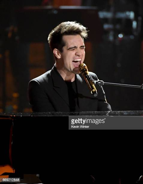 Musician Brendon Urie of Panic at the Disco performs onstage during 'Stayin' Alive A GRAMMY Salute To The Music Of The Bee Gees' on February 14 2017...