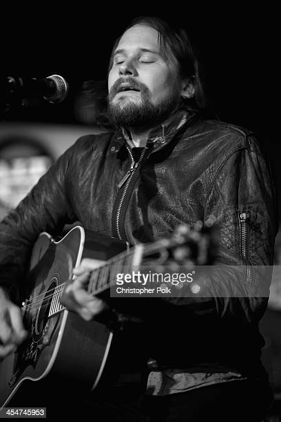 Musician Brian Aubert of Silversun Pickups performs at The ALTimate Rooftop Christmas Party at W Hollywood on December 9 2013 in Hollywood California