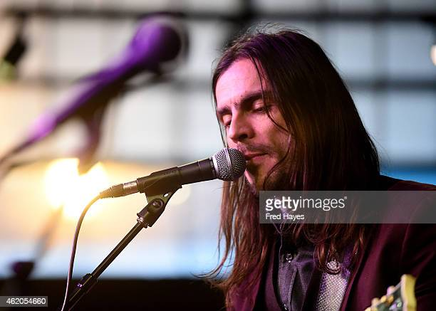 Musician Brian Bell of the band Weezer performs with his band The Relationship at the Sundance ASCAP Music Cafe during the 2015 Sundance Film...