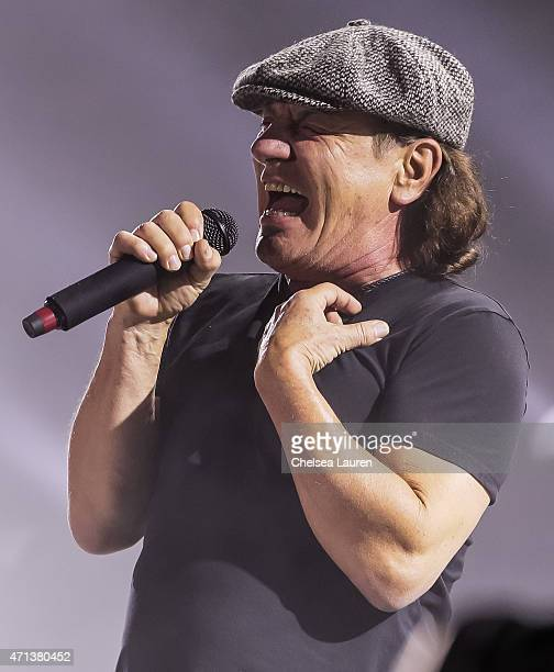 Musician Brian Johnson of AC/DC performs during the Coachella Valley Music and Arts Festival at The Empire Polo Club on April 17 2015 in Indio...