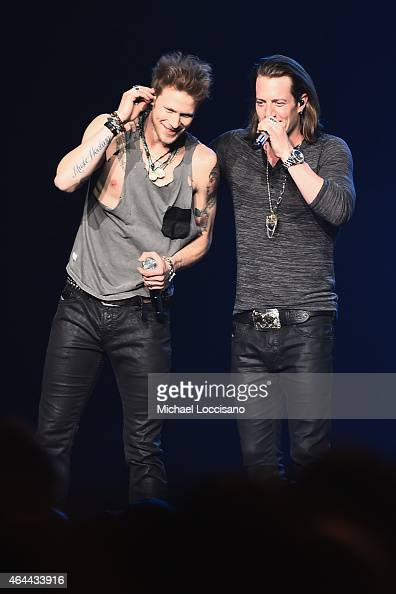 Musician Brian Kelley and Tyler Hubbard of Florida Georgia Line perform at Madison Square Garden on February 25 2015 in New York City