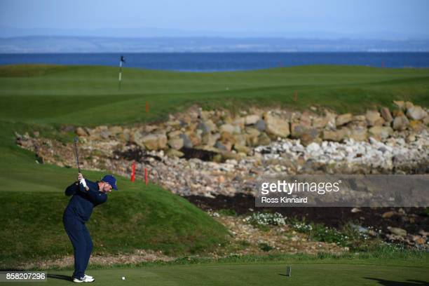 Musician Brian McFadden tees off on the 15th during day two of the 2017 Alfred Dunhill Championship at Kingsbarns on October 6 2017 in St Andrews...