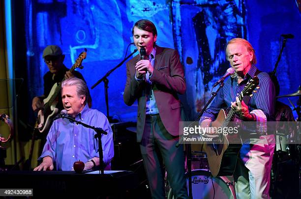 Musician Brian Wilson actor Paul Dano and musician Al Jardine perform at Roadside Attraction's 'Love and Mercy' DVD release and music celebration...