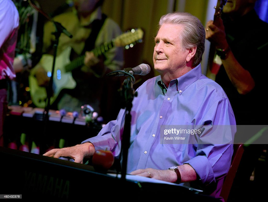 Musician Brian Wilson performs at Roadside Attraction's 'Love and Mercy' DVD release and music celebration with Brian Wilson at the Vibrato Jazz Club on October 12, 2015 in Los Angeles, California.