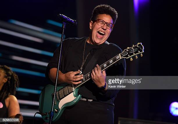 Musician Brittany Howard from the band Alabama Shakes rehearses onstage during The 58th GRAMMY Awards at Staples Center on February 12 2016 in Los...