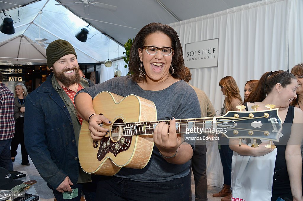 Musician <a gi-track='captionPersonalityLinkClicked' href=/galleries/search?phrase=Brittany+Howard&family=editorial&specificpeople=8343255 ng-click='$event.stopPropagation()'>Brittany Howard</a> of Alabama Shakes attends the GRAMMY Gift Lounge during the 55th Annual GRAMMY Awards at STAPLES Center on February 9, 2013 in Los Angeles, California.