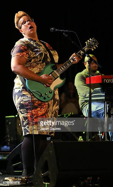 Musician Brittany Howard of Alabama Shakes performs at Starlight Theatre on May 29 2015 in Kansas City Missouri