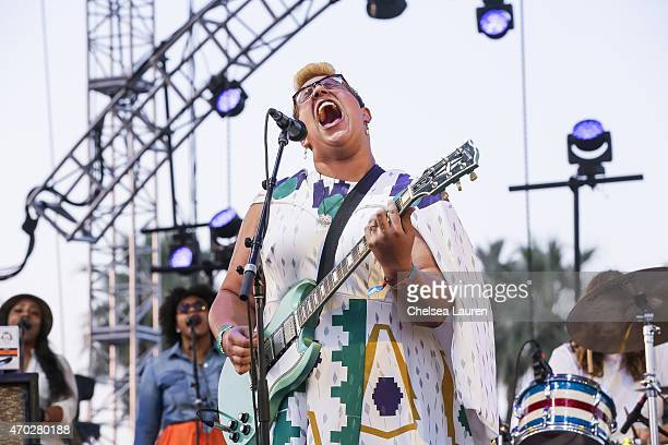 Musician Brittany Howard of Alabama Shakes performs during the Coachella Valley Music and Arts Festival at The Empire Polo Club on April 17 2015 in...