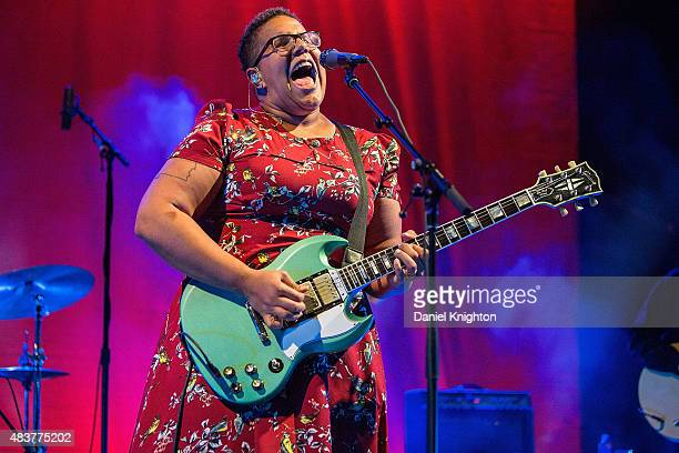 Musician Brittany Howard of Alabama Shakes performs on stage at Cal Coast Credit Union Open Air Theatre on August 12 2015 in San Diego California