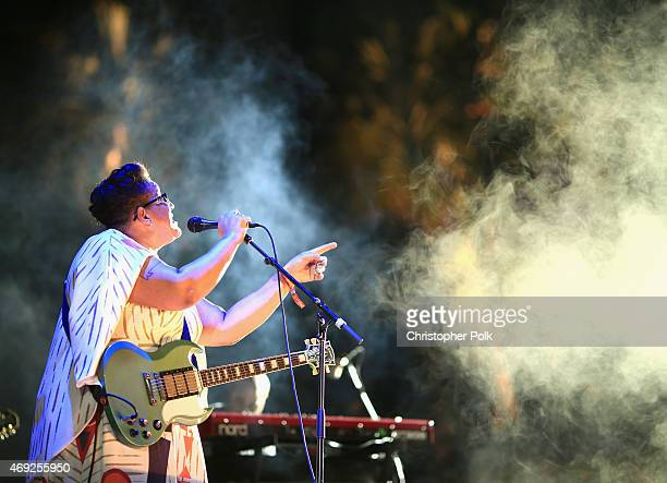 Musician Brittany Howard of Alabama Shakes performs onstage during day 1 of the 2015 Coachella Valley Music Arts Festival at the Empire Polo Club on...