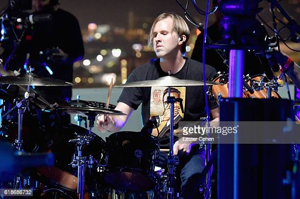 Musician Brooks Wackerman of musical group Avenged Sevenfold performs during Avenged Sevenfold Groundbreaking Global VR Event Live at Iconic Capitol...