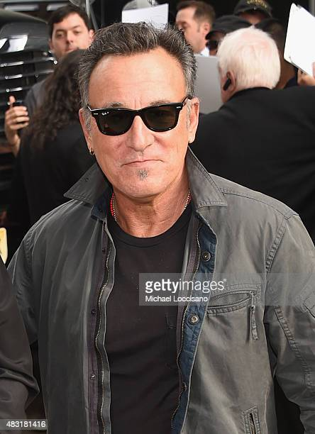 Musician Bruce Springsteen arrives for the final taping of 'The Daily Show With Jon Stewart' on August 6 2015 in New York City