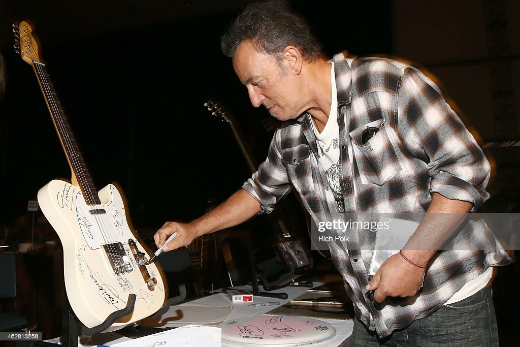 Musician Bruce Springsteen attends the Auction Signings at MusiCares Person of the Year during The 57th Annual GRAMMY Awards at the Los Angeles Convention Center on February 5, 2015 in Los Angeles, California.