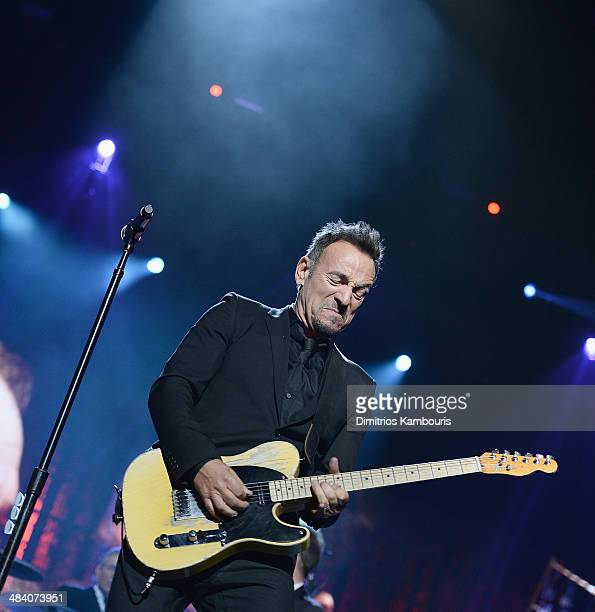 Musician Bruce Springsteen performs onstage at the 29th Annual Rock And Roll Hall Of Fame Induction Ceremony at Barclays Center of Brooklyn on April...