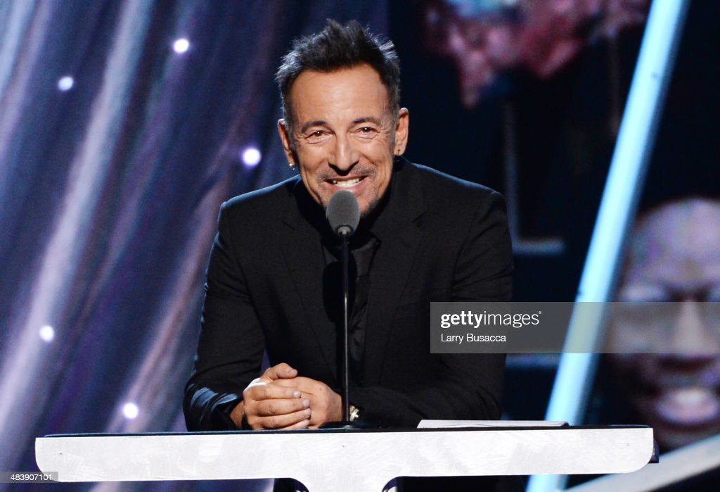 Musician Bruce Springsteen speaks onstage at the 29th Annual Rock And Roll Hall Of Fame Induction Ceremony at Barclays Center of Brooklyn on April 10, 2014 in New York City.