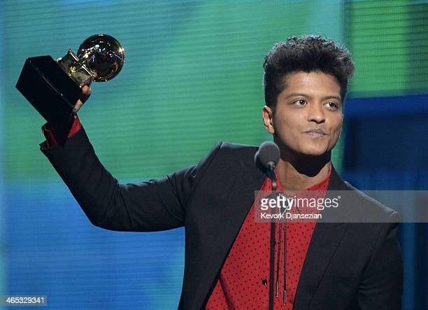 Musician Bruno Mars accepts the Best Pop Vocal Album award for 'Unorthodox Jukebox' onstage during the 56th GRAMMY Awards at Staples Center on...