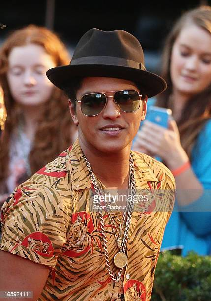 Musician Bruno Mars arrives at the 2013 Logie Awards at the Crown on April 7 2013 in Melbourne Australia