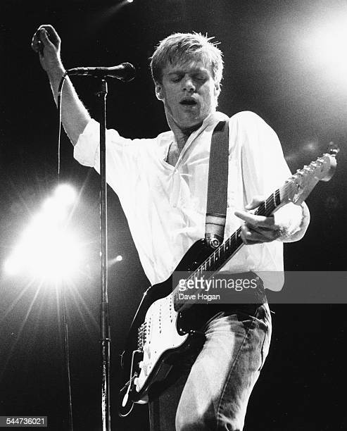 Musician Bryan Adams performing on stage during on of his concerts at Wembley Stadium London October 22nd 1987