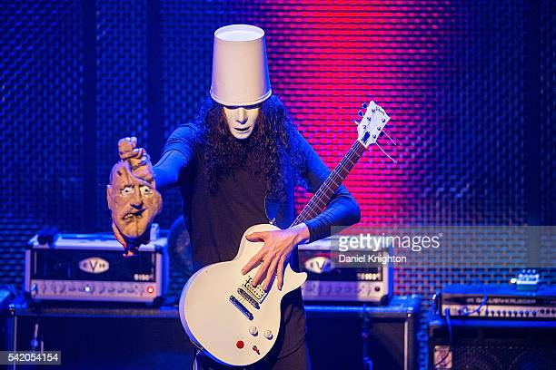 Musician Buckethead performs on stage at Music Box on June 21 2016 in San Diego California