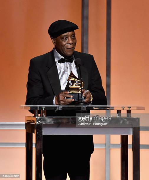 Musician Buddy Guy accepts award for Best Blues Album for 'Born To Play Guitar' onstage during the GRAMMY PreTelecast at The 58th GRAMMY Awards at...