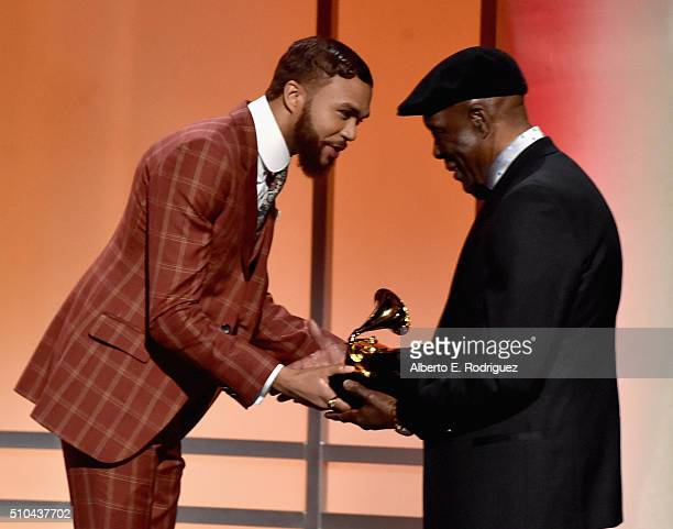 Musician Buddy Guy accepts award for Best Blues Album for 'Born To Play Guitar' from producer Jidenna onstage during the GRAMMY PreTelecast at The...