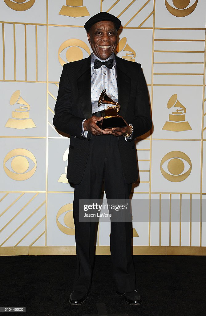 Musician <a gi-track='captionPersonalityLinkClicked' href=/galleries/search?phrase=Buddy+Guy&family=editorial&specificpeople=215438 ng-click='$event.stopPropagation()'>Buddy Guy</a> poses in the press room at the The 58th GRAMMY Awards at Staples Center on February 15, 2016 in Los Angeles, California.