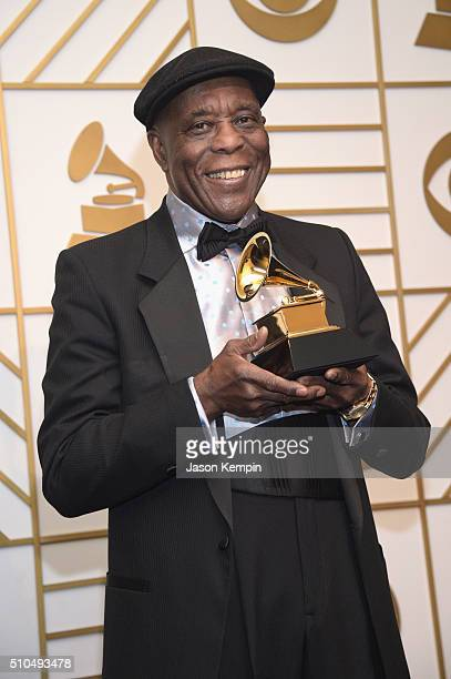 Musician Buddy Guy poses in the press room during The 58th GRAMMY Awards at Staples Center on February 15 2016 in Los Angeles California