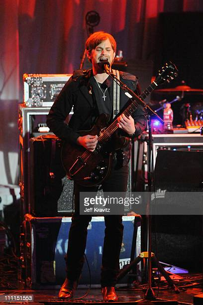 Musician Caleb Followill of the Kings Of Leon performs at the 2009 GRAMMY Salute to Icons honoring Clive Davis at the Beverly Hilton Hotel on...