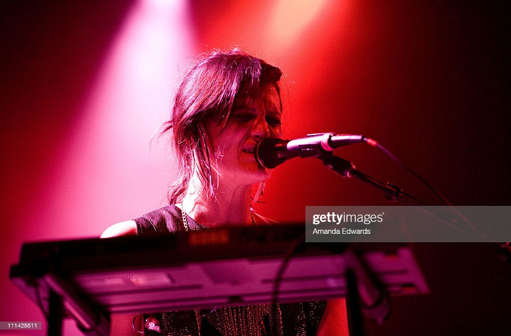 Musician Camila Grey of Uh Huh Her performs onstage at The El Rey Theatre on April 1, 2011 in Los Angeles, California.