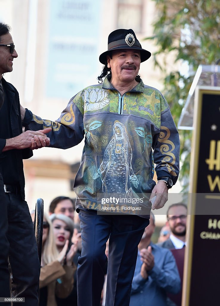Musician <a gi-track='captionPersonalityLinkClicked' href=/galleries/search?phrase=Carlos+Santana+-+Musiker&family=editorial&specificpeople=11497837 ng-click='$event.stopPropagation()'>Carlos Santana</a> attends a ceremony honoring Maná with the 2,573rd Star on the Hollywood Walk of Fame on February 10, 2016 in Hollywood, California.