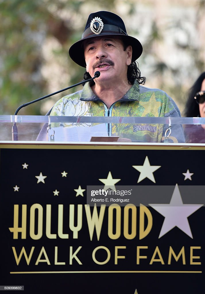 Musician <a gi-track='captionPersonalityLinkClicked' href=/galleries/search?phrase=Carlos+Santana+-+Musician&family=editorial&specificpeople=11497837 ng-click='$event.stopPropagation()'>Carlos Santana</a> attends a ceremony honoring Maná with the 2,573rd Star on the Hollywood Walk of Fame on February 10, 2016 in Hollywood, California.