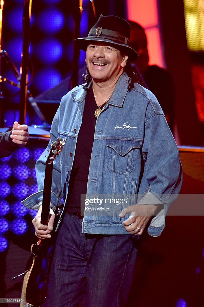 Musician <a gi-track='captionPersonalityLinkClicked' href=/galleries/search?phrase=Carlos+Santana+-+Musician&family=editorial&specificpeople=11497837 ng-click='$event.stopPropagation()'>Carlos Santana</a> performs onstage during rehearsals for the 15th annual Latin GRAMMY Awards at the MGM Grand Garden Arena on November 19, 2014 in Las Vegas, Nevada.