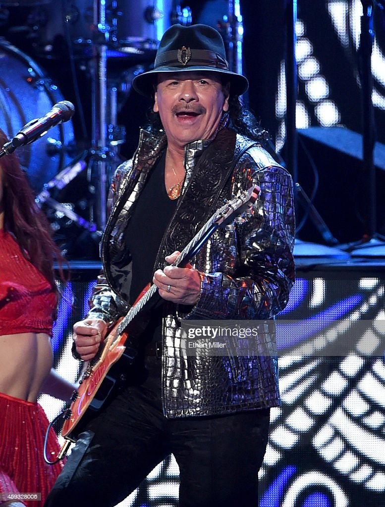 Musician <a gi-track='captionPersonalityLinkClicked' href=/galleries/search?phrase=Carlos+Santana+-+Musician&family=editorial&specificpeople=11497837 ng-click='$event.stopPropagation()'>Carlos Santana</a> performs onstage during the 15th Annual Latin GRAMMY Awards at the MGM Grand Garden Arena on November 20, 2014 in Las Vegas, Nevada.