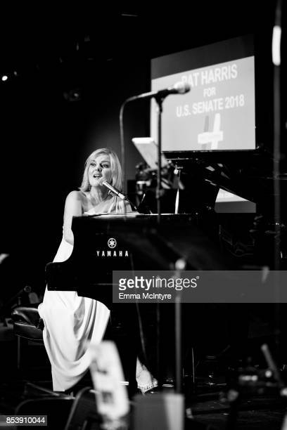 Musician Carol Welsman performs onstage at 'Pat Harris' California Democratic US Senate run 2018 kick off' at Catalina Jazz Club Bar Grill on...