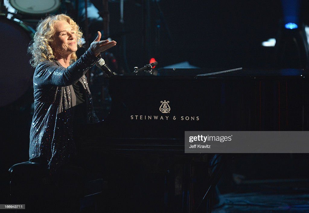 Musician <a gi-track='captionPersonalityLinkClicked' href=/galleries/search?phrase=Carole+King+-+Musician&family=editorial&specificpeople=211440 ng-click='$event.stopPropagation()'>Carole King</a> performs at the 28th Annual Rock and Roll Hall of Fame Induction Ceremony at Nokia Theatre L.A. Live on April 18, 2013 in Los Angeles, California.