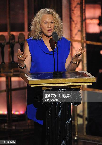 Musician Carole King speaks onstage at the 25th Annual Rock and Roll Hall of Fame Induction Ceremony at the Waldorf=Astoria on March 15 2010 in New...