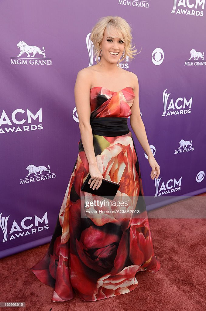 Musician <a gi-track='captionPersonalityLinkClicked' href=/galleries/search?phrase=Carrie+Underwood&family=editorial&specificpeople=204483 ng-click='$event.stopPropagation()'>Carrie Underwood</a> attends the 48th Annual Academy of Country Music Awards at the MGM Grand Garden Arena on April 7, 2013 in Las Vegas, Nevada.