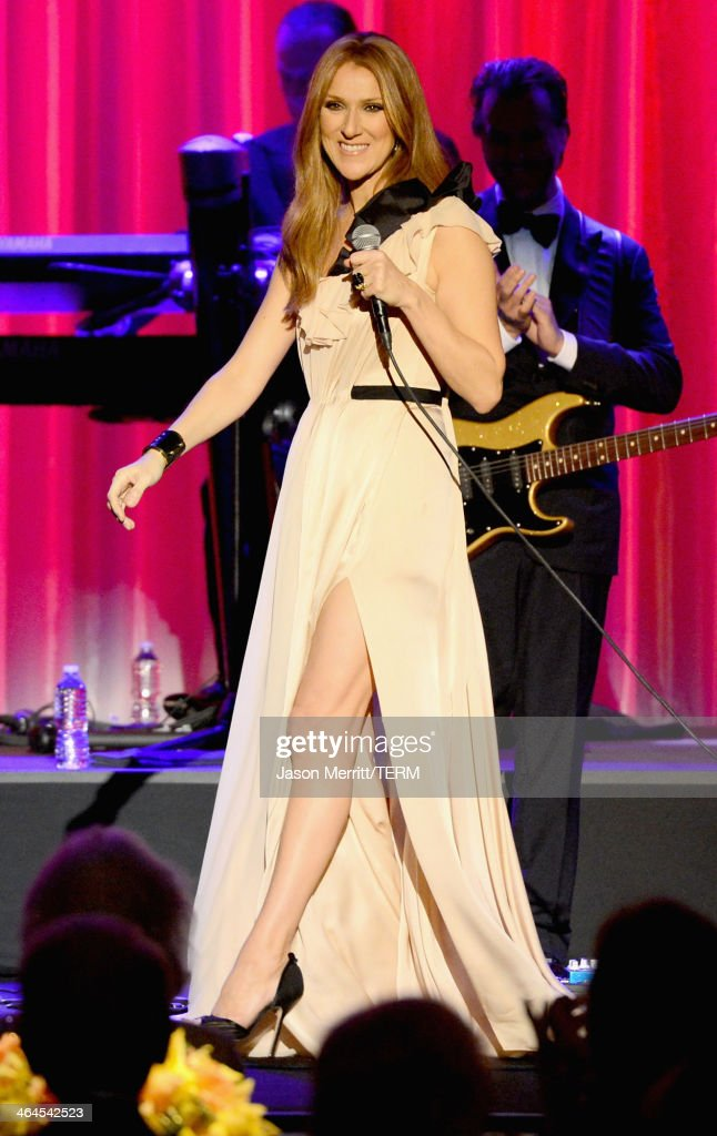 Musician Celine Dion performs onstage during the UCLA Head and Neck Surgery Luminary Awards at the Beverly Wilshire Four Seasons Hotel on January 22, 2014 in Beverly Hills, California.
