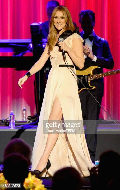 Musician Celine Dion performs onstage during the UCLA Head and Neck Surgery Luminary Awards at the Beverly Wilshire Four Seasons Hotel on January 22...