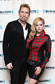 Musician Chad Kroeger of Nickelback and wife Avril Lavigne visit the SiriusXM Studios on October 15 2013 in New York City
