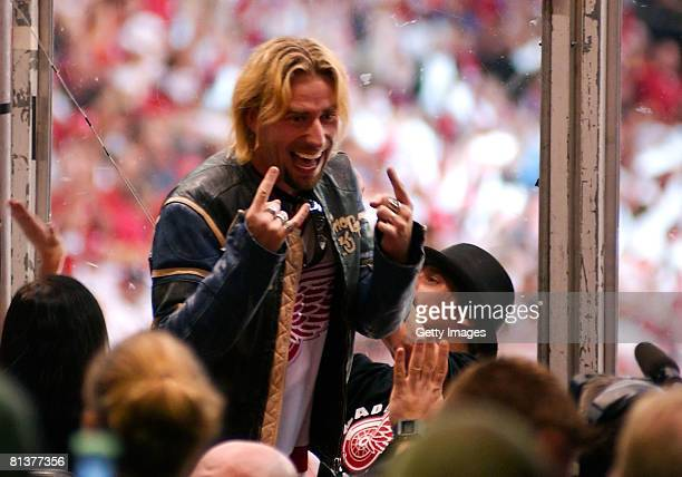Musician Chad Kroeger of Nickelback celebrates a Red Wings goal during game five of the 2008 NHL Stanley Cup Finals against the Pittsburgh Penguins...