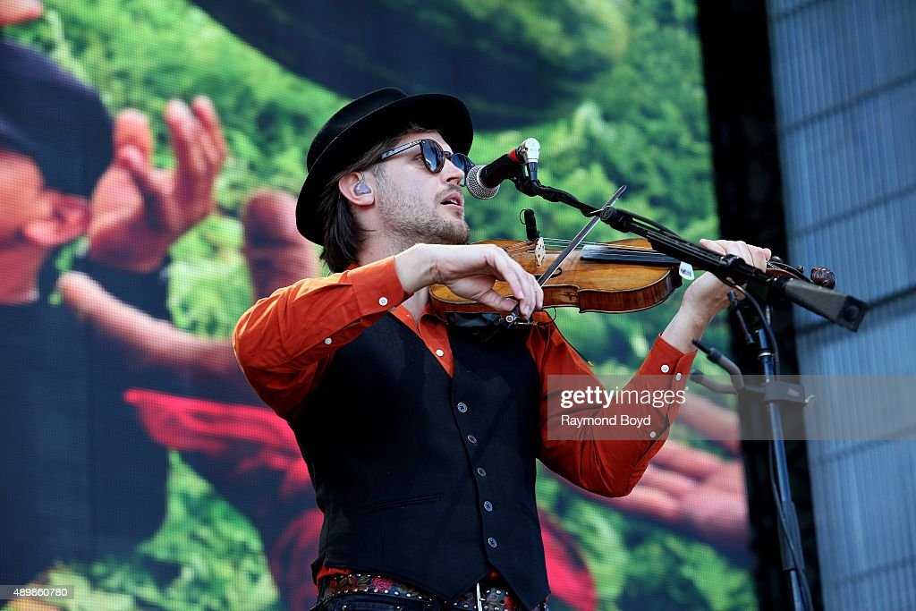 Musician Chance McCoy from Old Crow Medicine Show performs at FirstMerit Bank Pavilion at Northerly Island during 'Farm Aid 30' on September 19 2015...
