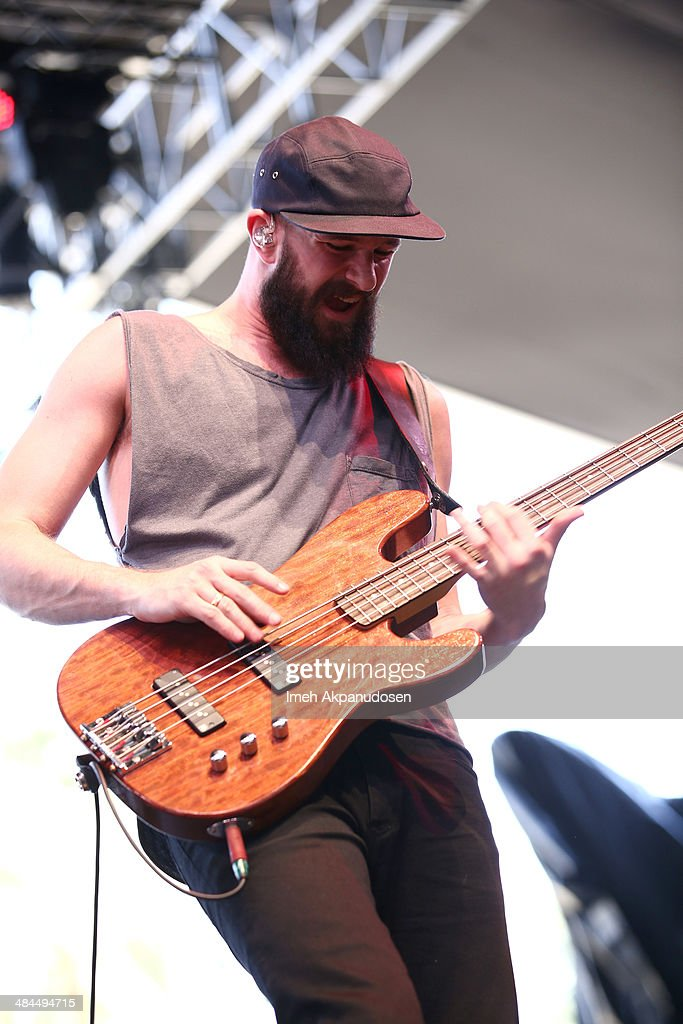 Musician Charles Cave of White Lies performs onstage during day 2 of the 2014 Coachella Valley Music Arts Festival at the Empire Polo Club on April...