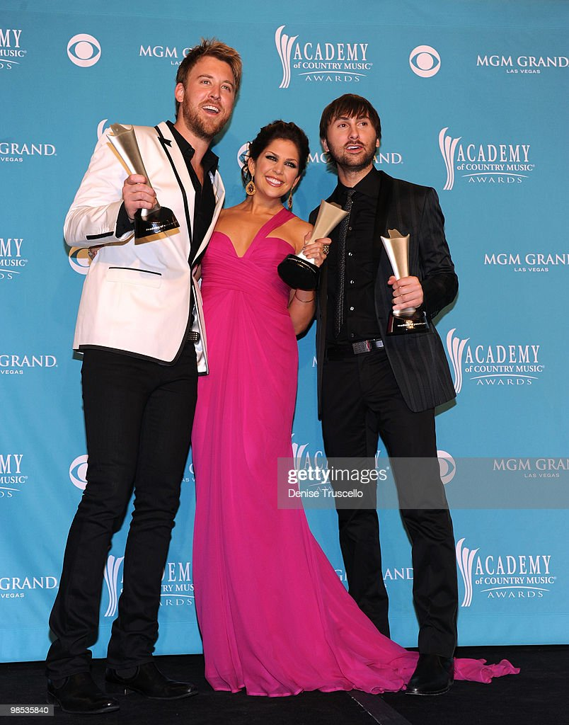 Musician Charles Kelley, singers Hillary Scott, and Dave Haywood of the band Lady Antebellum, winner of Song of the Year, pose in the press room during the 45th Annual Academy of Country Music Awards at the MGM Grand Garden Arena on April 18, 2010 in Las Vegas, Nevada.