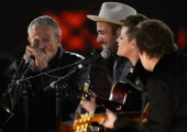 Musician Charlie Musselwhite singer Ben Harper and singer Natalie Maines perform onstage at The 2013 MusiCares Person Of The Year Gala Honoring Bruce...