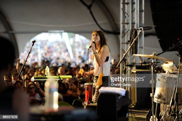 Musician Charlotte Gainsbourg performs during day 3 of the Coachella Valley Music Art Festival 2010 held at The Empire Polo Club on April 18 2010 in...